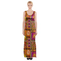 Traditional Africa Border Wallpaper Pattern Colored 3 Maxi Thigh Split Dress
