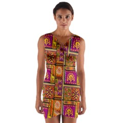 Traditional Africa Border Wallpaper Pattern Colored 3 Wrap Front Bodycon Dress