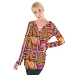 Traditional Africa Border Wallpaper Pattern Colored 3 Tie Up Tee