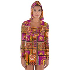 Traditional Africa Border Wallpaper Pattern Colored 3 Long Sleeve Hooded T Shirt