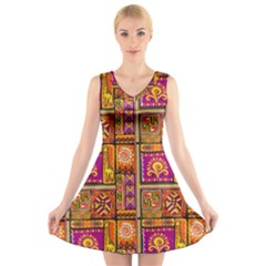 Traditional Africa Border Wallpaper Pattern Colored 3 V Neck Sleeveless Dress