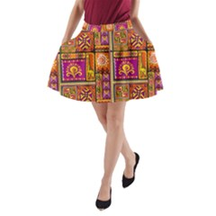 Traditional Africa Border Wallpaper Pattern Colored 3 A Line Pocket Skirt