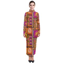 Traditional Africa Border Wallpaper Pattern Colored 3 Turtleneck Maxi Dress