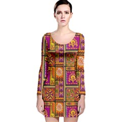 Traditional Africa Border Wallpaper Pattern Colored 3 Long Sleeve Velvet Bodycon Dress