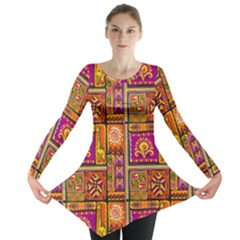 Traditional Africa Border Wallpaper Pattern Colored 3 Long Sleeve Tunic