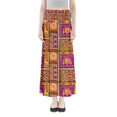 Traditional Africa Border Wallpaper Pattern Colored 3 Full Length Maxi Skirt