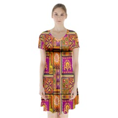Traditional Africa Border Wallpaper Pattern Colored 3 Short Sleeve V Neck Flare Dress