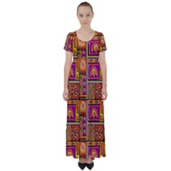 Traditional Africa Border Wallpaper Pattern Colored 3 High Waist Short Sleeve Maxi Dress