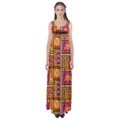 Traditional Africa Border Wallpaper Pattern Colored 3 Empire Waist Maxi Dress