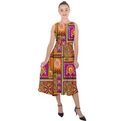 Traditional Africa Border Wallpaper Pattern Colored 3 Midi Tie Back Chiffon Dress