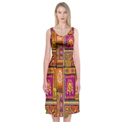 Traditional Africa Border Wallpaper Pattern Colored 3 Midi Sleeveless Dress