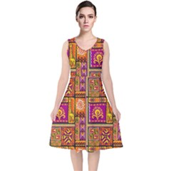 Traditional Africa Border Wallpaper Pattern Colored 3 V Neck Midi Sleeveless Dress