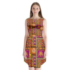 Traditional Africa Border Wallpaper Pattern Colored 3 Sleeveless Chiffon Dress