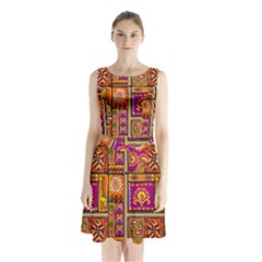 Traditional Africa Border Wallpaper Pattern Colored 3 Sleeveless Waist Tie Chiffon Dress