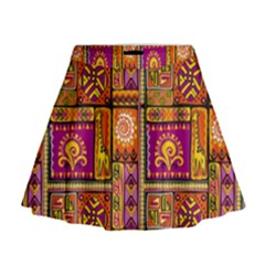 Traditional Africa Border Wallpaper Pattern Colored 3 Mini Flare Skirt by EDDArt