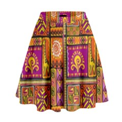 Traditional Africa Border Wallpaper Pattern Colored 3 High Waist Skirt