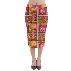 Traditional Africa Border Wallpaper Pattern Colored 3 Midi Pencil Skirt