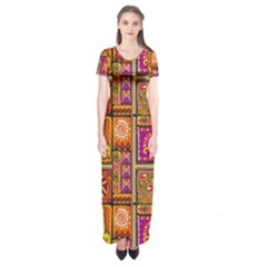 Traditional Africa Border Wallpaper Pattern Colored 3 Short Sleeve Maxi Dress