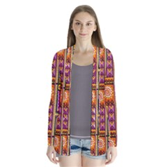 Traditional Africa Border Wallpaper Pattern Colored 3 Drape Collar Cardigan