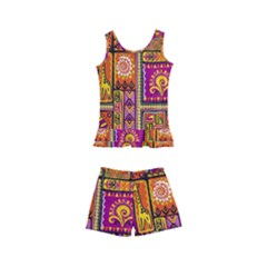 Traditional Africa Border Wallpaper Pattern Colored 3 Kid s Boyleg Swimsuit