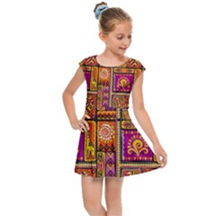 Traditional Africa Border Wallpaper Pattern Colored 3 Kids Cap Sleeve Dress