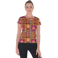 Traditional Africa Border Wallpaper Pattern Colored 3 Short Sleeve Sports Top