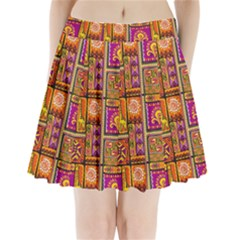 Traditional Africa Border Wallpaper Pattern Colored 3 Pleated Mini Skirt