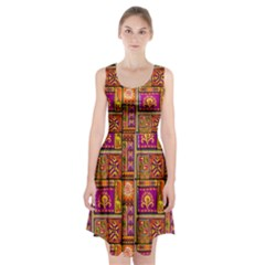 Traditional Africa Border Wallpaper Pattern Colored 3 Racerback Midi Dress
