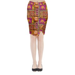 Traditional Africa Border Wallpaper Pattern Colored 3 Midi Wrap Pencil Skirt