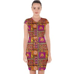 Traditional Africa Border Wallpaper Pattern Colored 3 Capsleeve Drawstring Dress