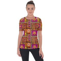 Traditional Africa Border Wallpaper Pattern Colored 3 Short Sleeve Top