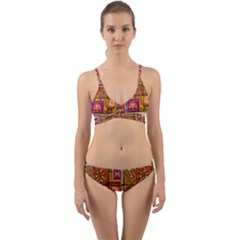 Traditional Africa Border Wallpaper Pattern Colored 3 Wrap Around Bikini Set