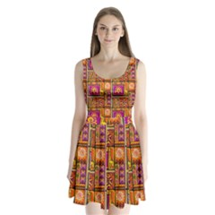 Traditional Africa Border Wallpaper Pattern Colored 3 Split Back Mini Dress