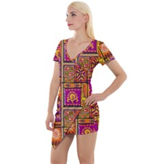Traditional Africa Border Wallpaper Pattern Colored 3 Short Sleeve Asymmetric Mini Dress