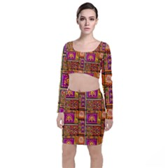 Traditional Africa Border Wallpaper Pattern Colored 3 Long Sleeve Crop Top & Bodycon Skirt Set