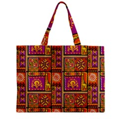 Traditional Africa Border Wallpaper Pattern Colored 3 Zipper Medium Tote Bag