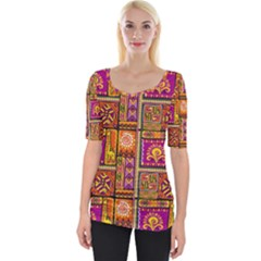 Traditional Africa Border Wallpaper Pattern Colored 3 Wide Neckline Tee