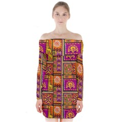 Traditional Africa Border Wallpaper Pattern Colored 3 Long Sleeve Off Shoulder Dress