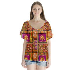 Traditional Africa Border Wallpaper Pattern Colored 3 V Neck Flutter Sleeve Top