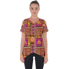 Traditional Africa Border Wallpaper Pattern Colored 3 Cut Out Side Drop Tee