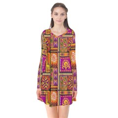 Traditional Africa Border Wallpaper Pattern Colored 3 Long Sleeve V Neck Flare Dress
