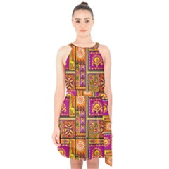 Traditional Africa Border Wallpaper Pattern Colored 3 Halter Collar Waist Tie Chiffon Dress