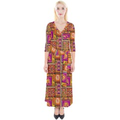 Traditional Africa Border Wallpaper Pattern Colored 3 Quarter Sleeve Wrap Maxi Dress