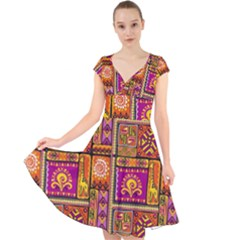 Traditional Africa Border Wallpaper Pattern Colored 3 Cap Sleeve Front Wrap Midi Dress