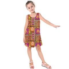 Traditional Africa Border Wallpaper Pattern Colored 3 Kids  Sleeveless Dress