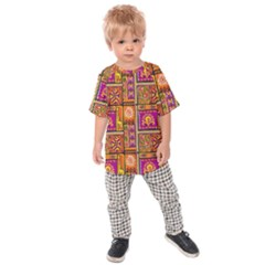 Traditional Africa Border Wallpaper Pattern Colored 3 Kids Raglan Tee