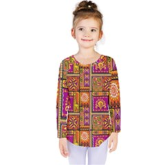 Traditional Africa Border Wallpaper Pattern Colored 3 Kids  Long Sleeve Tee