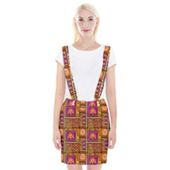 Traditional Africa Border Wallpaper Pattern Colored 3 Braces Suspender Skirt