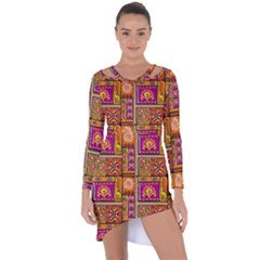 Traditional Africa Border Wallpaper Pattern Colored 3 Asymmetric Cut Out Shift Dress
