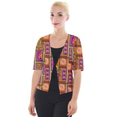 Traditional Africa Border Wallpaper Pattern Colored 3 Cropped Button Cardigan